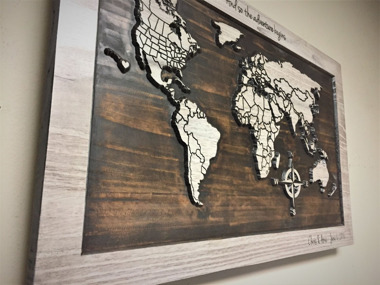 World Map With Countries Wood Wall Art Carved Wooden Map Rustic Home Decor Wedding Anniversary Family Name Sign