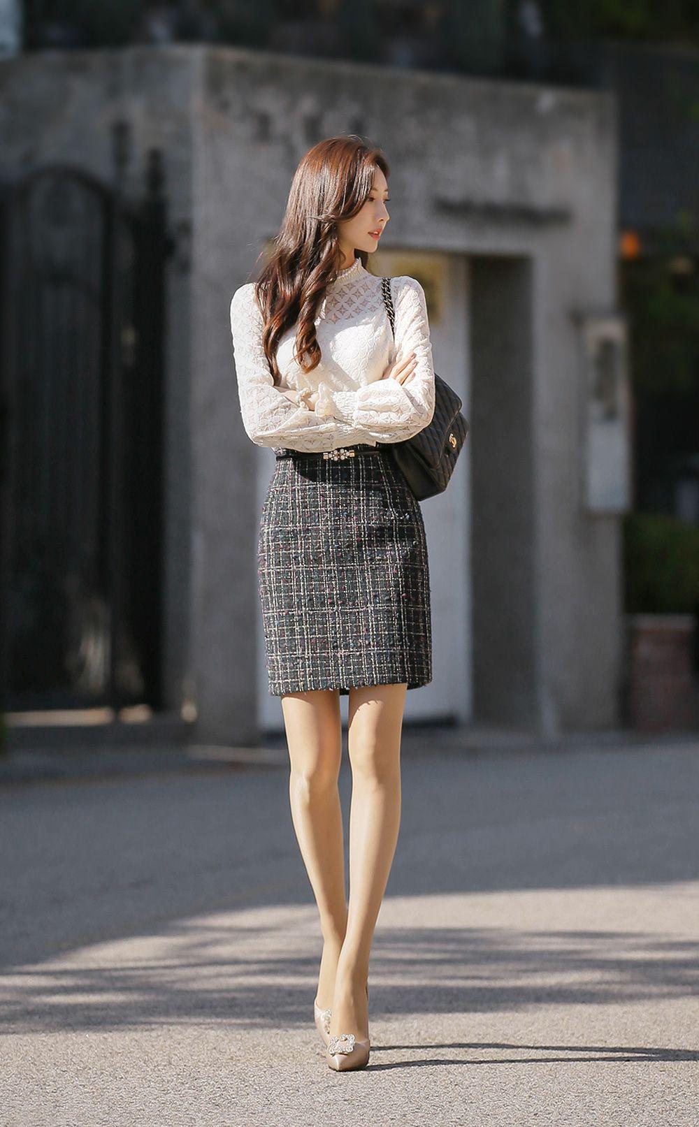 フリルネックラメ入りシースルーレースブラウスt in 2021 fashion asian fashion tweed pencil skirt