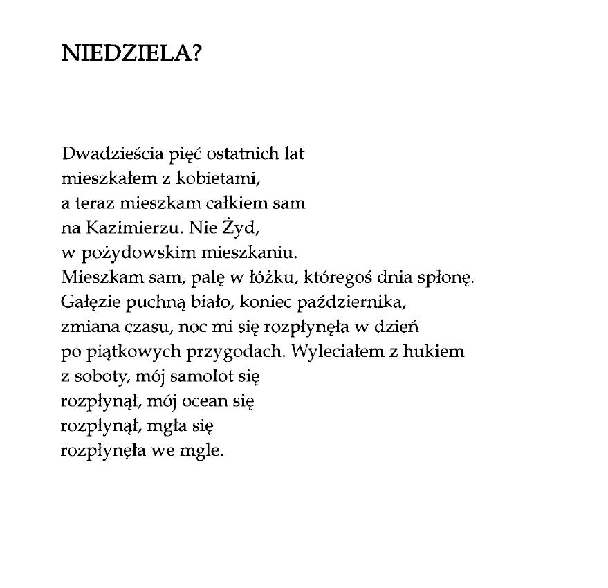 Niedziela Marcin świetlicki Poezja Wiersze I Cytaty