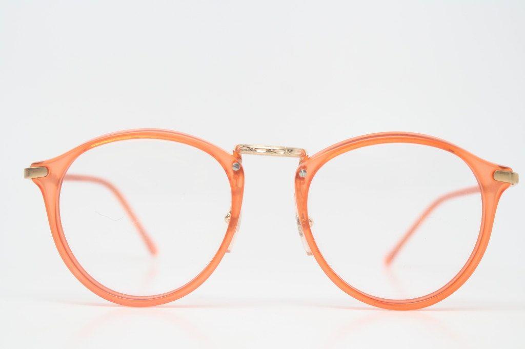 Vintage Glasses Frames Red & Gold Retro P3 shaped 1980s vintage eyewear NOS Deadstock Vintage Eyeglasses. $118.00, via Etsy.