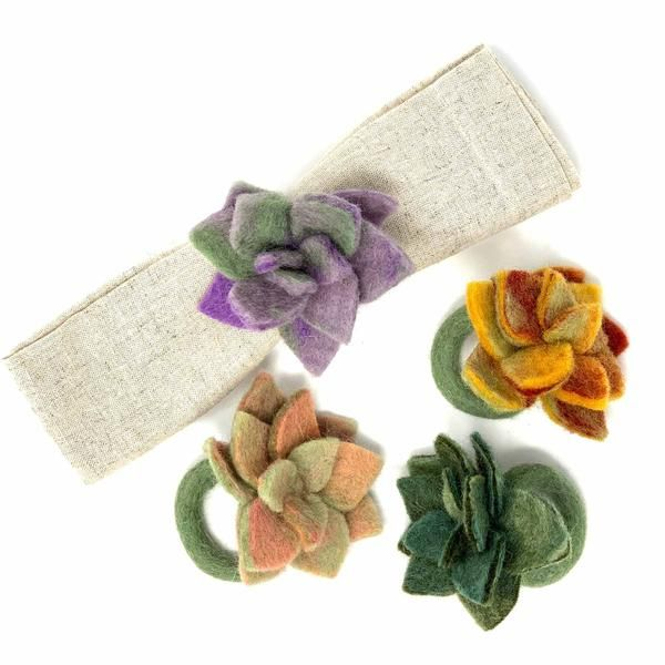Hand-felted Succulent Napkin Rings, Set of Four Colors - Global Groove (T) #napkinrings
