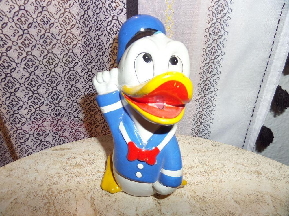 30 Vintage Donald Duck Waving Piggy Coin Bank Walt Disney