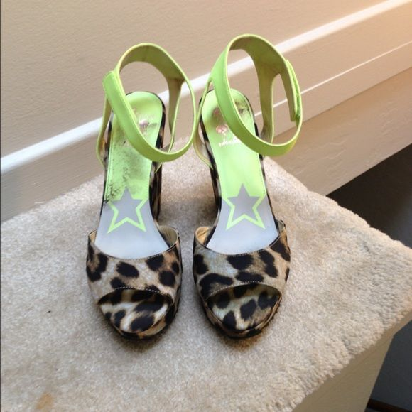 Sam Edelman wedge heel Leopard print wedge with lime green ankle strap. Leopard detail is fabric material. Run on the smaller side. Only worn once, like new condition. A bit of debri sticking bottom, can clean off Circus by Sam Edelman Shoes Wedges