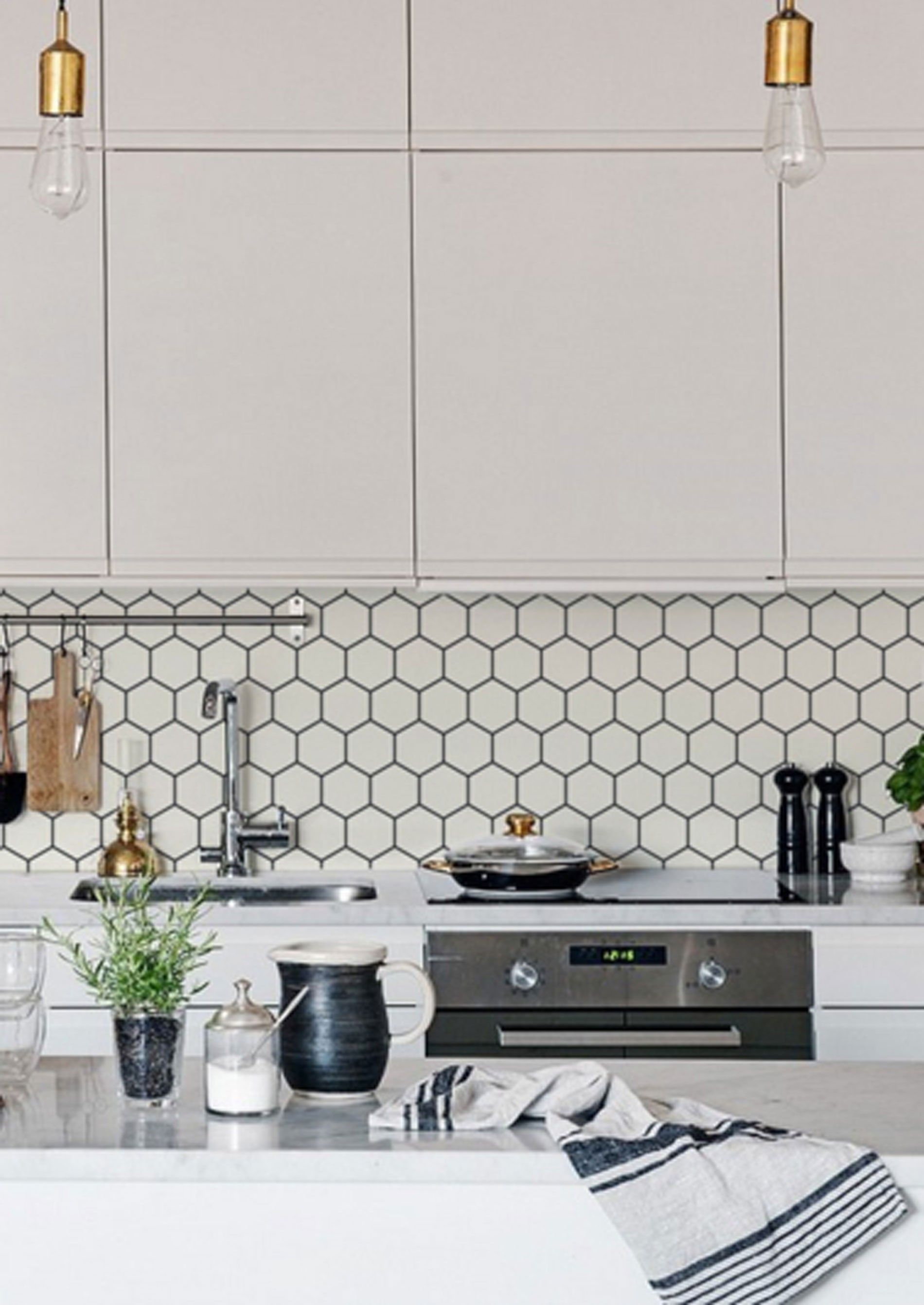 in a classy off white colour the kitchen wall wallpaper hexagon is