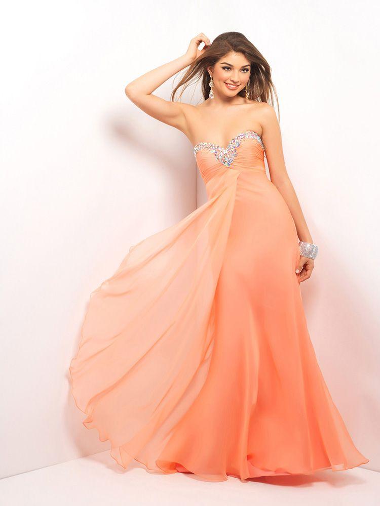 A Line Sweetheart Chiffon Floor Length Sleeveless Rhinestone Prom Dresses