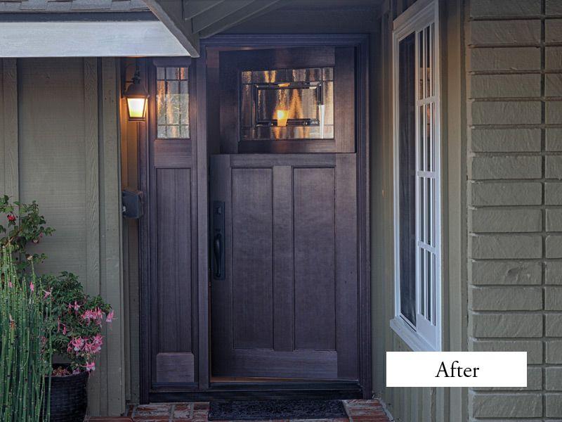 Plastpro Fiberglass Fir Grain Craftsman Door And Sidelight Model Drf3c With Solstice Glass