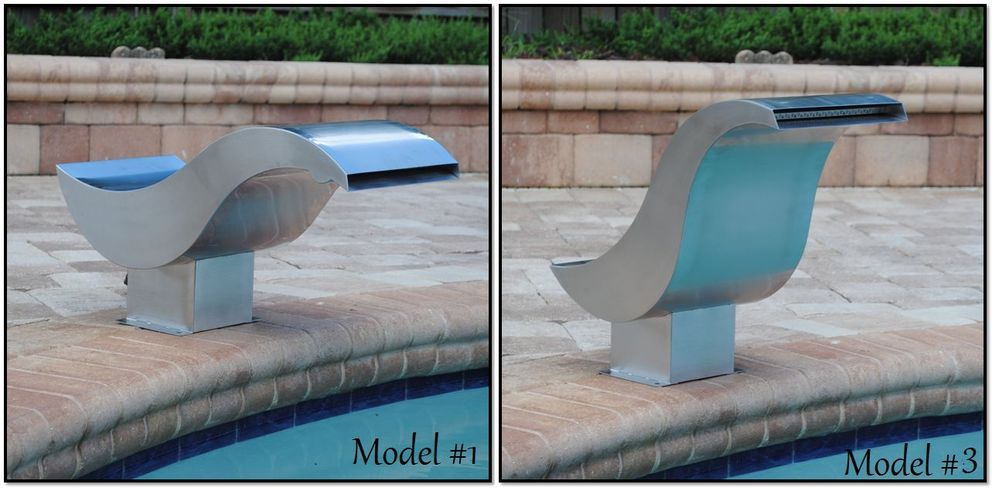 Pool Accent Fountain Stainless Sheer Descent Pond Garden Waterfall Water Feature #StreamFallSpillwaySpillWay316GradeCurveCM