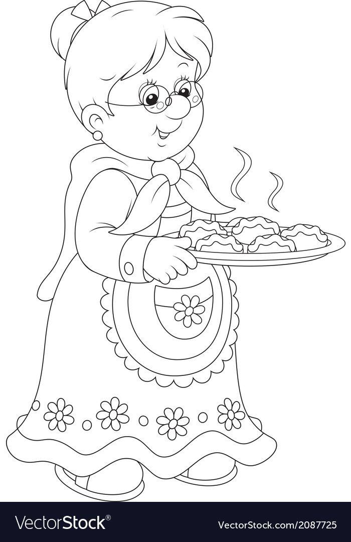Granny With Pies Vector Image On En 2020 Coloriage Dessin Colorier