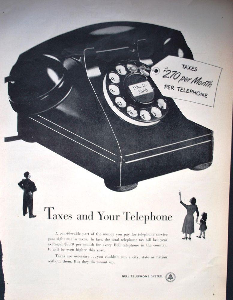 Black Telephone -Rare Vintage B&W Magazine AD