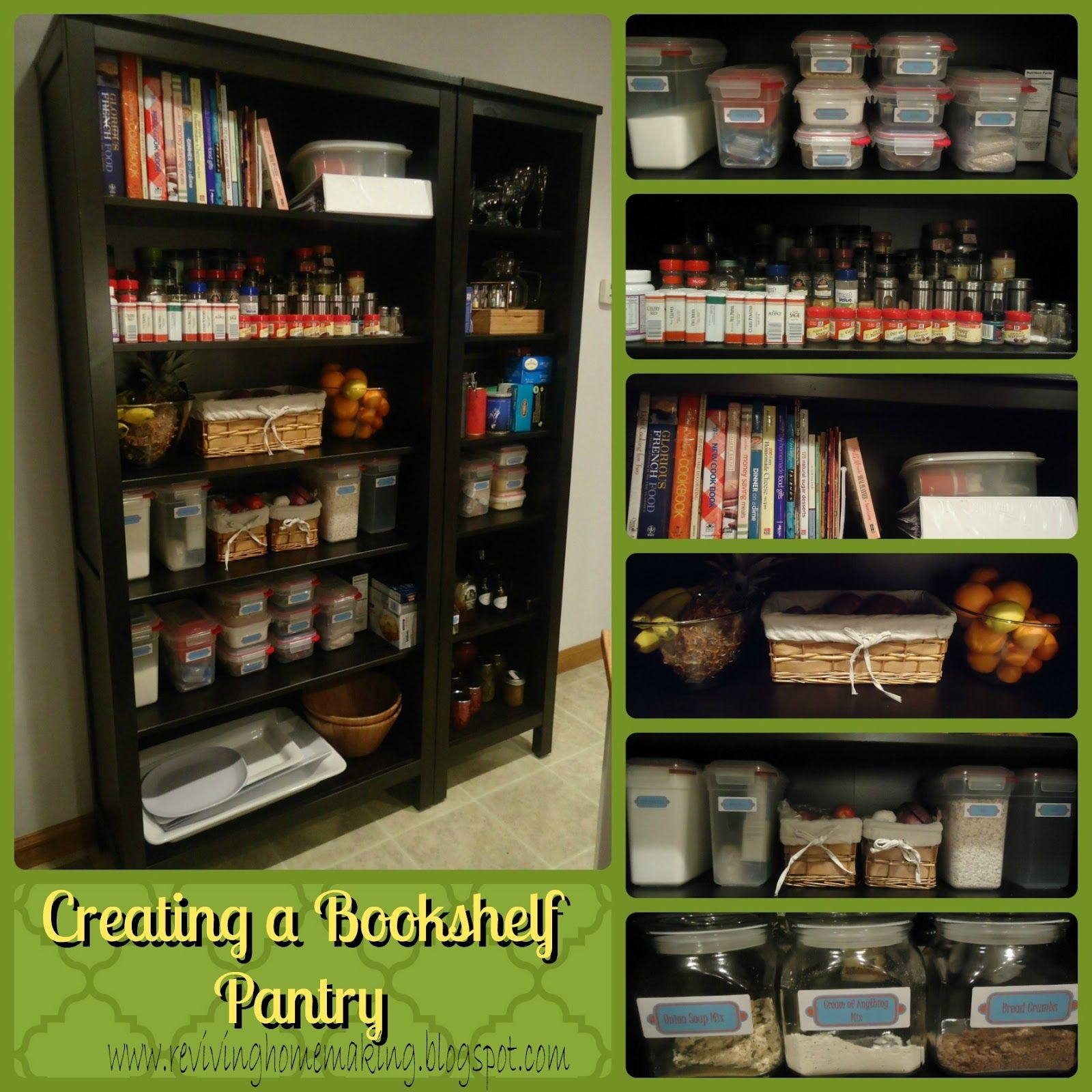 What a great idea if you don't have a pantry but have the room for a bookshelf! Reviving Homemaking: Creating a Bookshelf Pantry