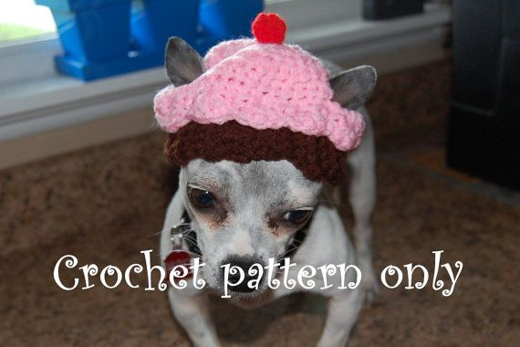 Instant Download Crochet Pattern Cupcake Dog Dog Hat 3 Sizes