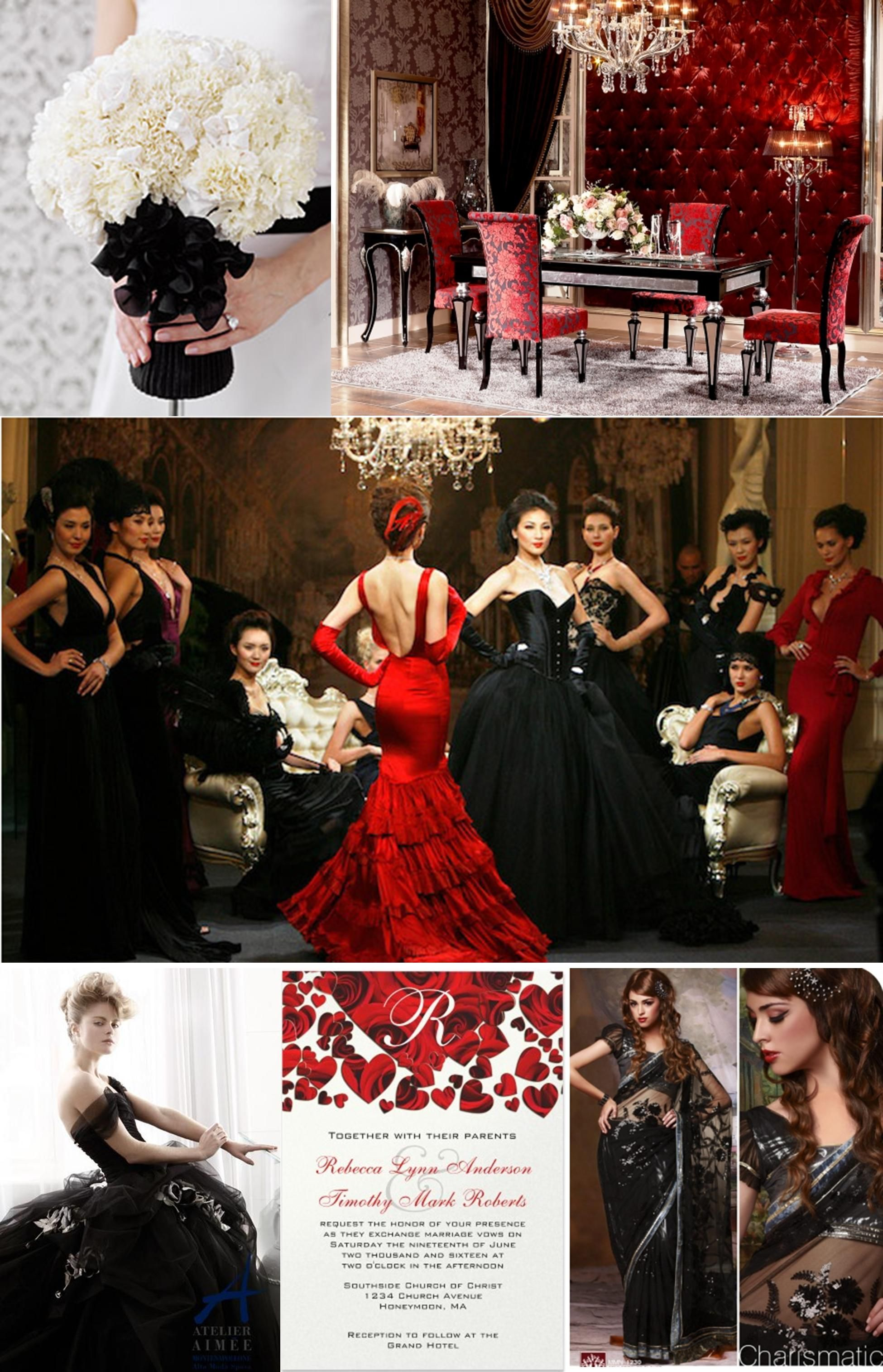 Black and white dresses for wedding guests  Inspiration Board IF YOU DARE  Weddings Black wedding themes and