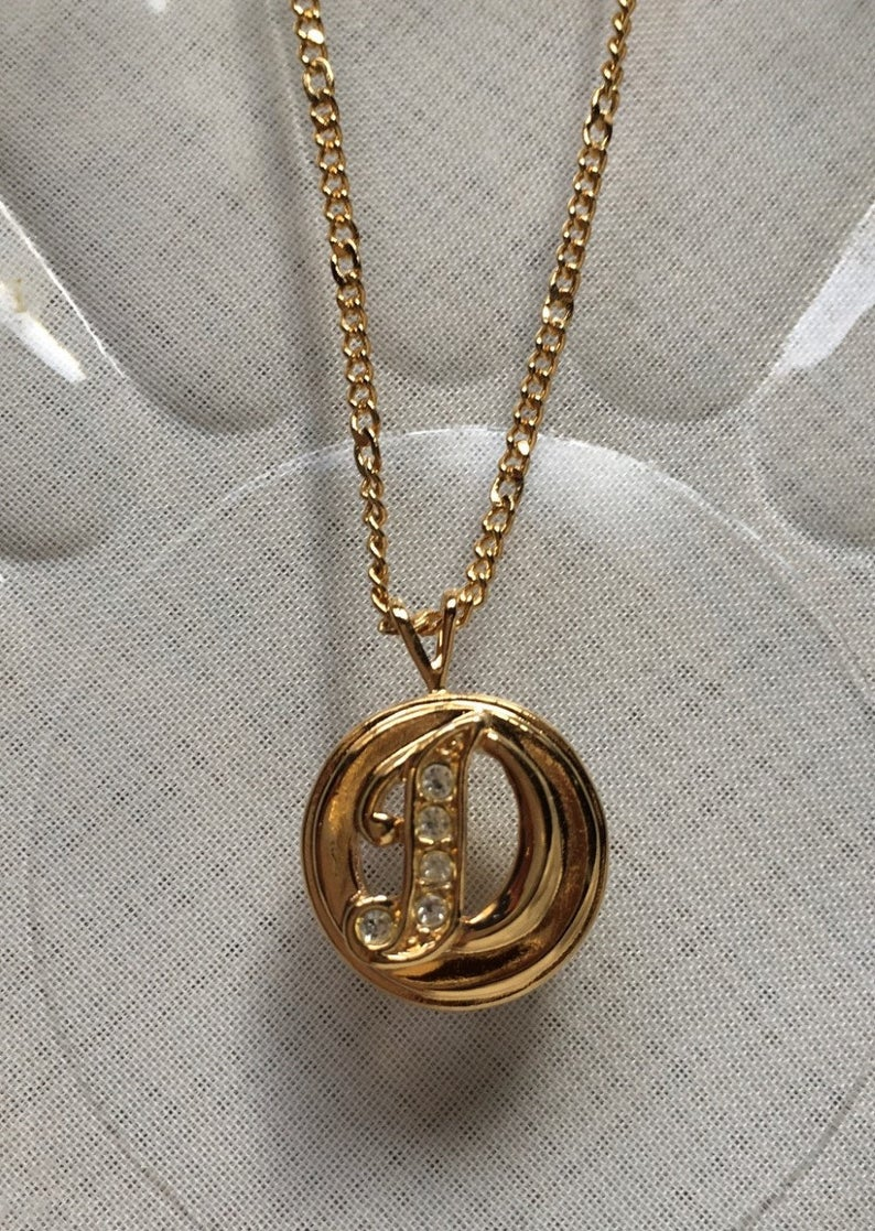 Vintage Avon Small Gold Tone Metal And Rhinestone Monogram Initial D Pendant Necklace On Thin Gold Tone Chain In 2020 Gold Tone Metal Initial Pendant Necklace Vintage Avon
