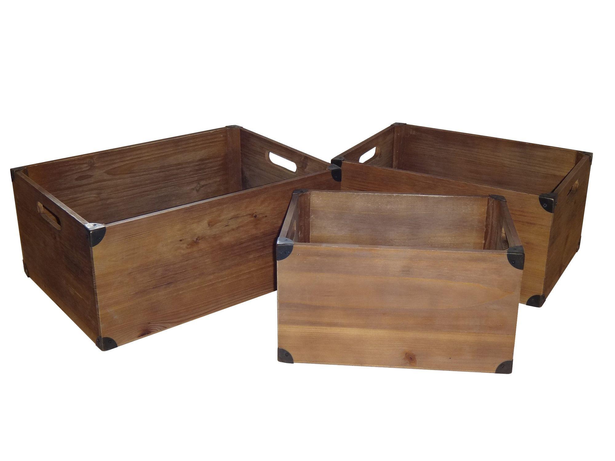 3 Piece Wood Slat Crate Set