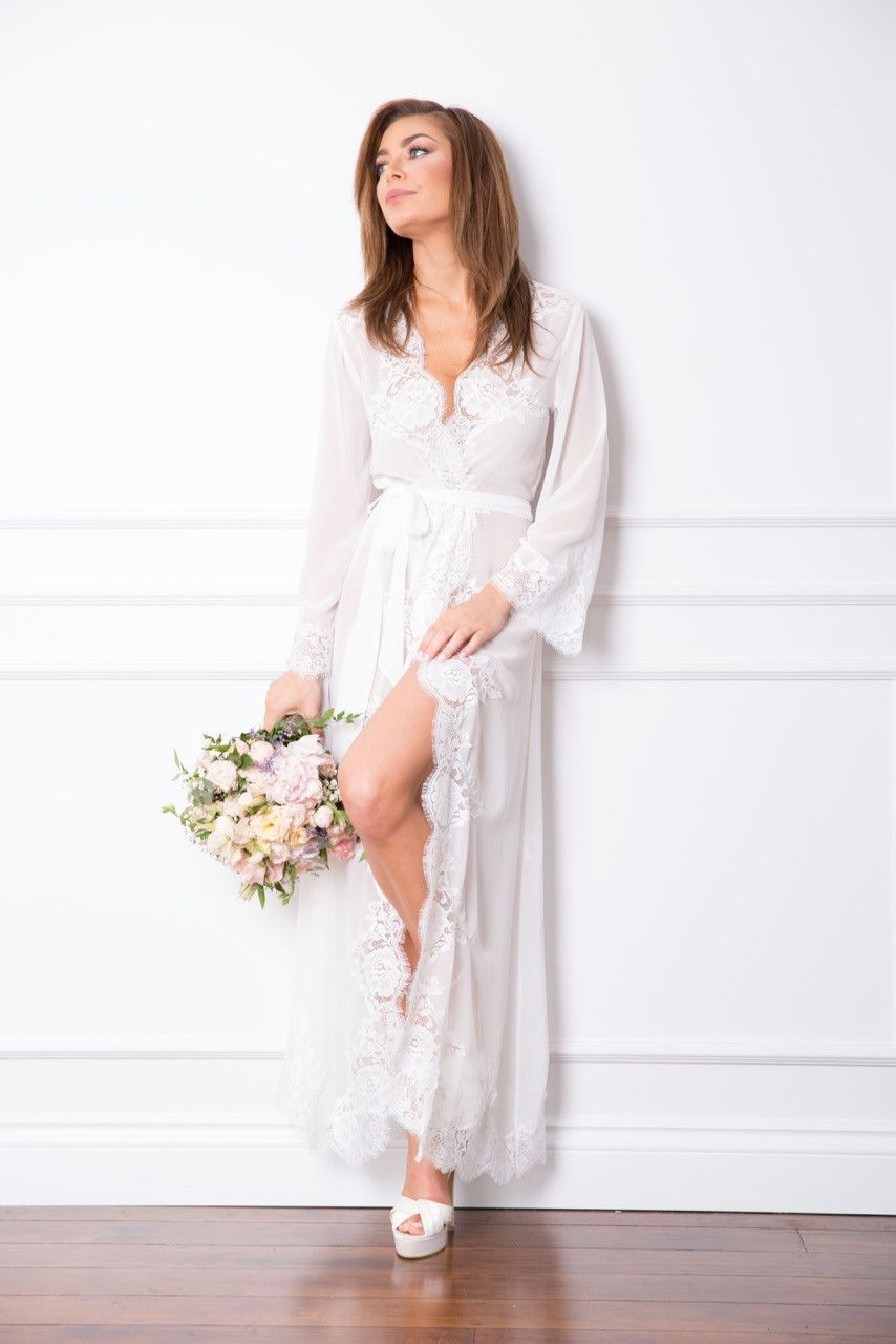 Helena Long Lace Robe | Pinterest | Lace robe, Dressing gown and ...