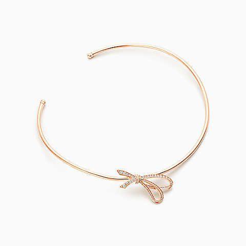 Tiffany Bow bracelet in 18k rose gold with diamonds, small Tiffany & Co.