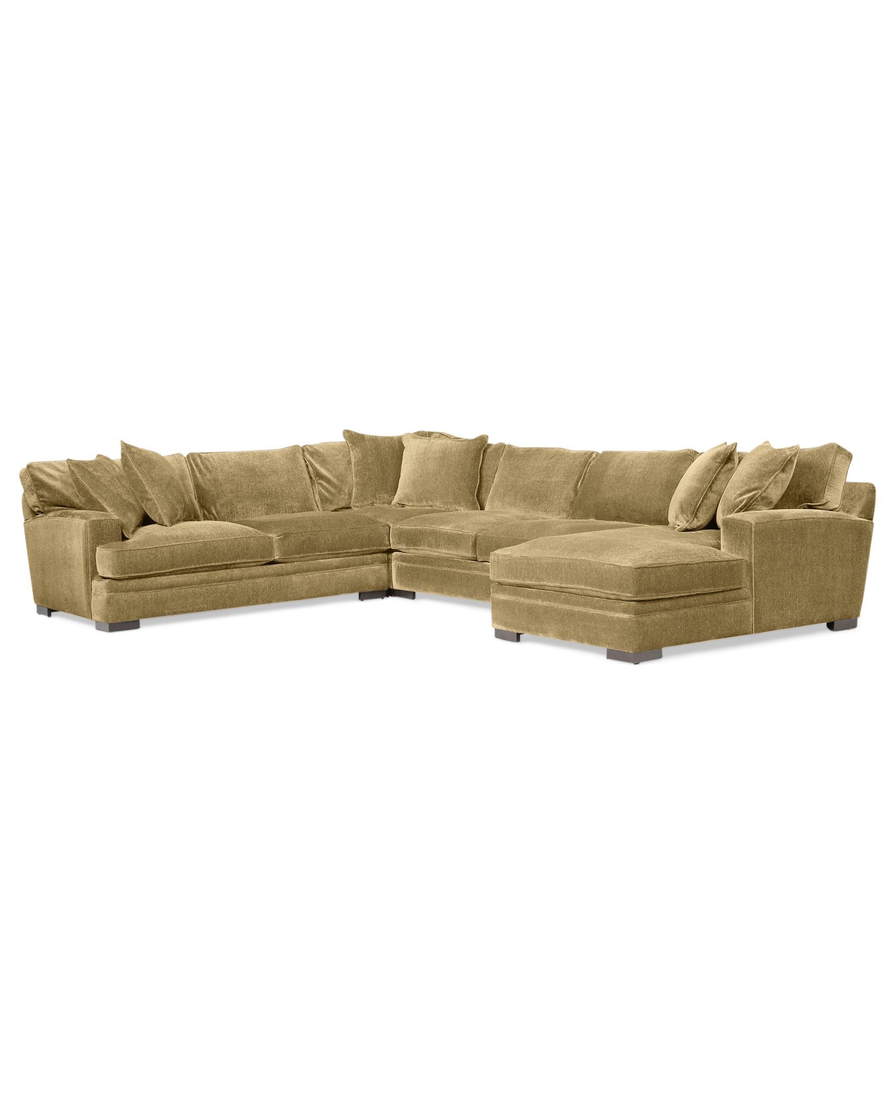 Teddy Fabric 4 Piece Chaise Sectional Sofa Custom Colors