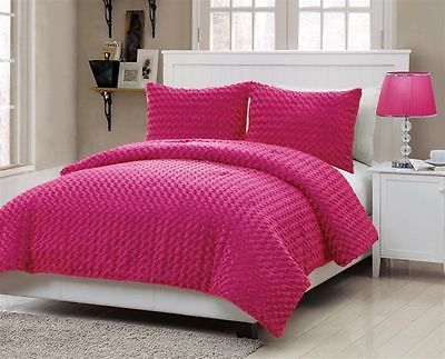 New Bed Bag Twin Full 3 Pc Hot Pink Bright Faux Fur Soft Comforter