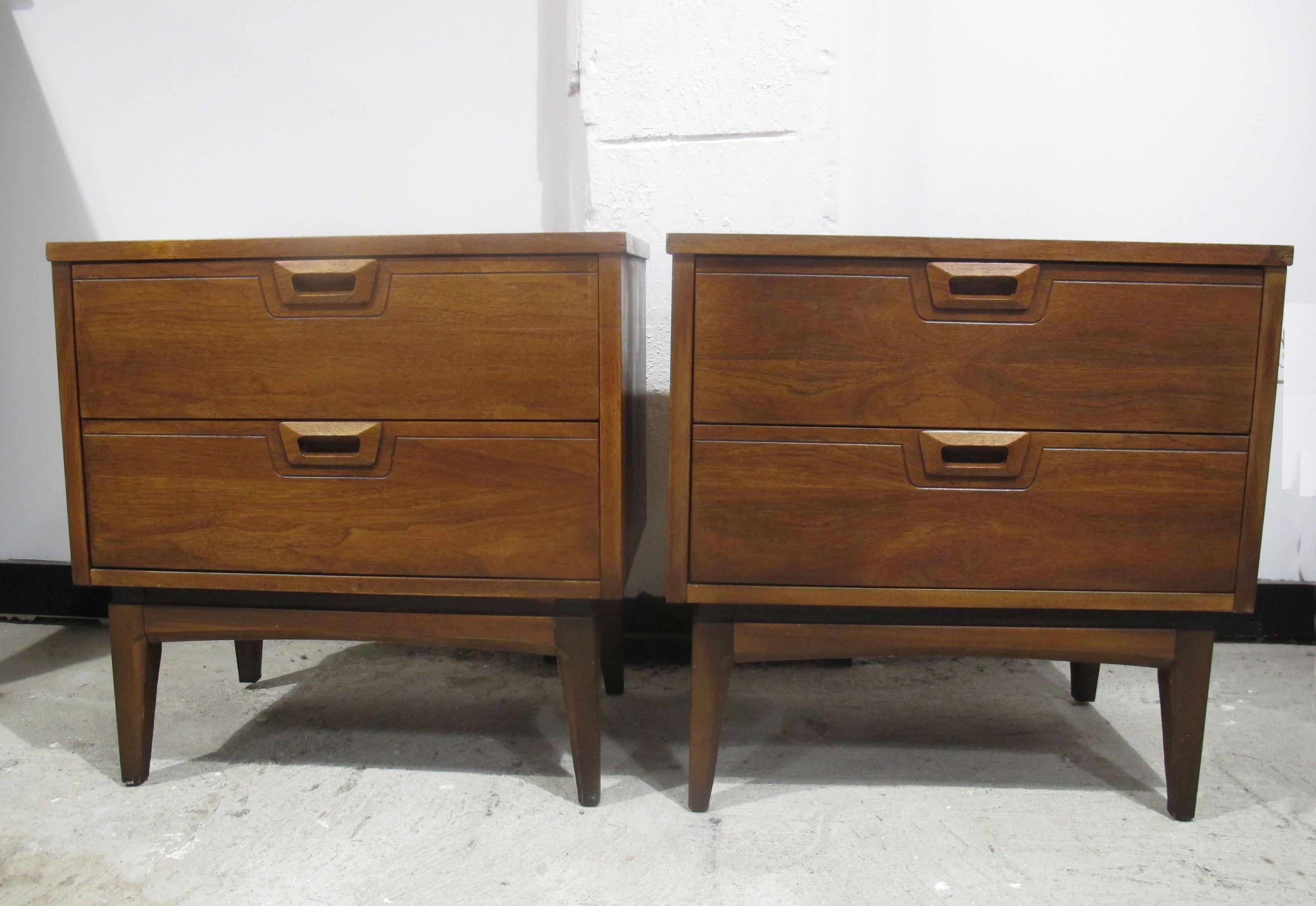 Pair Of Mid Century John Stuart Style Walnut Nightstands Modern