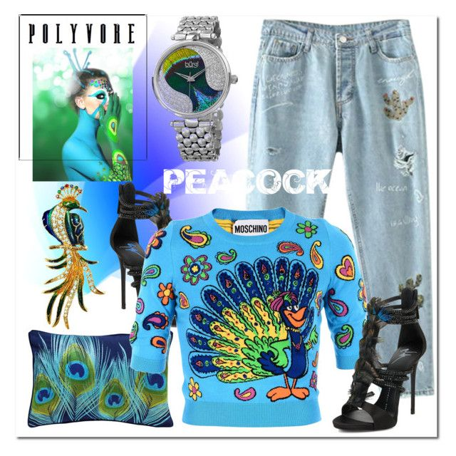 """PEACOCK"" by ilona-828 ❤ liked on Polyvore featuring bürgi, Modloft, Percival, Giuseppe Zanotti, Moschino, peacock and polyvoreeditorial"