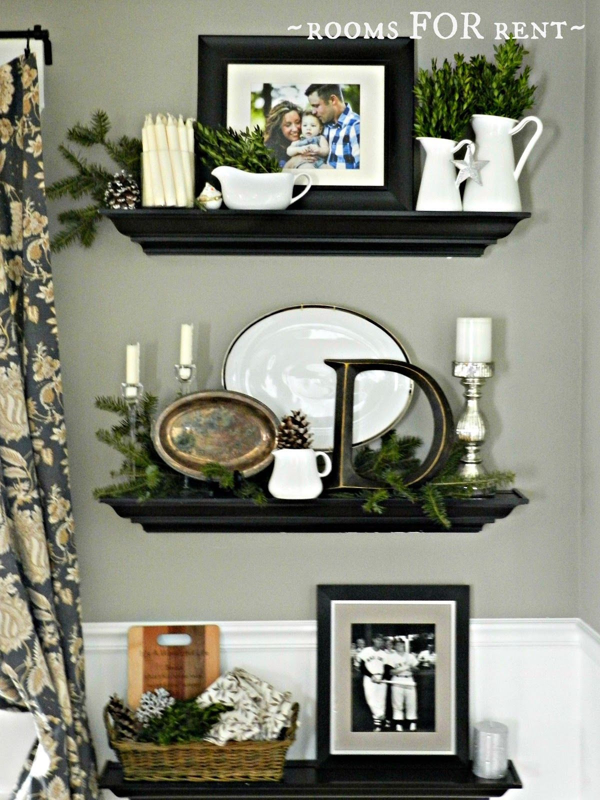 Rooms For Rent~ Dining Room Christmas Vignettes  Vignettes And Endearing Wall Shelves For Dining Room Design Decoration