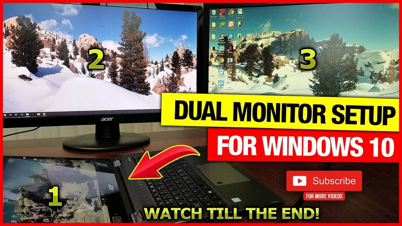 How To Connect Two Monitors To One Laptop (Windows 10-Best & Easiest way) | Dual  monitor setup, Laptop windows, Monitor