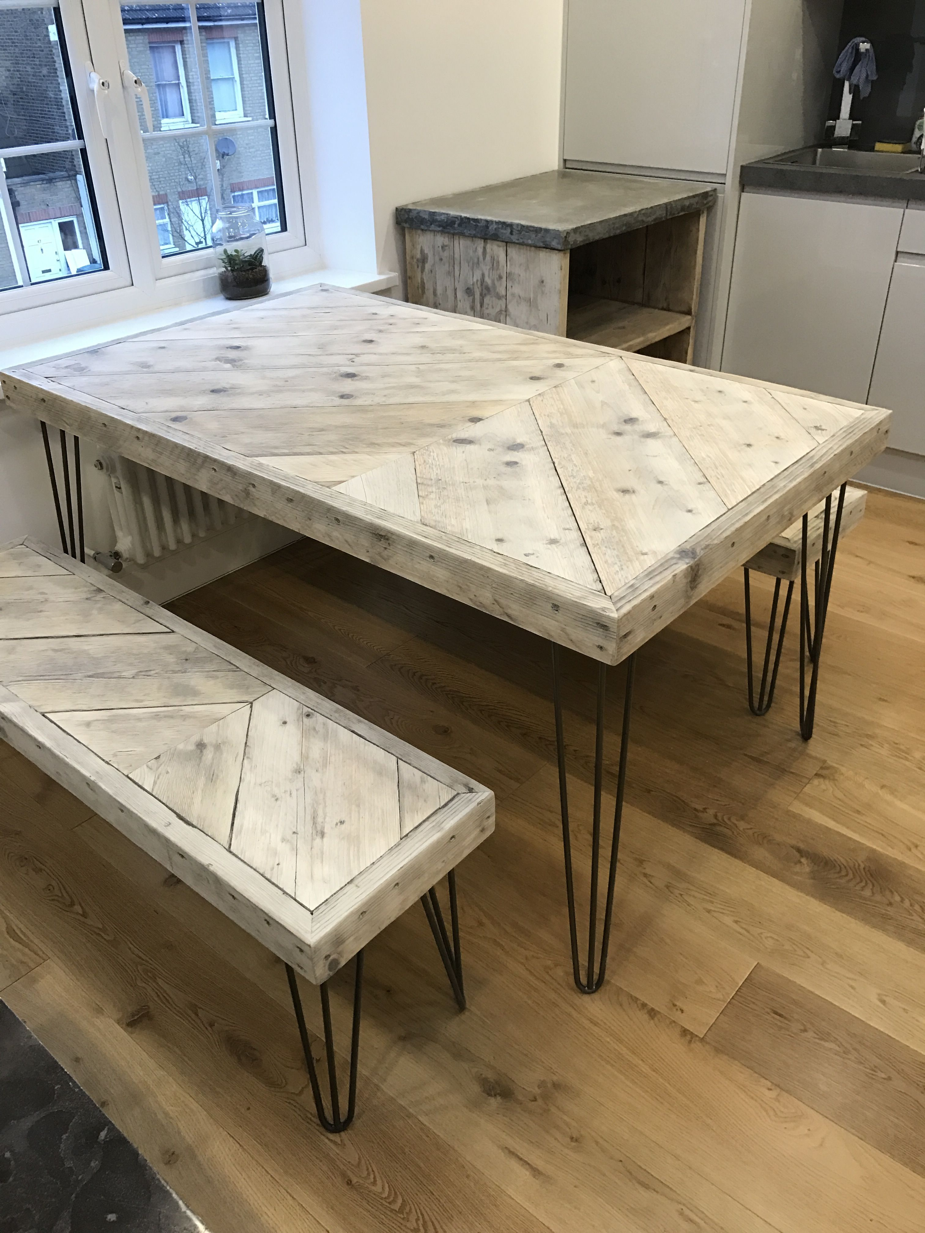 Reclaimed Scaffold Board Chevron Dining Table And Bench Set With