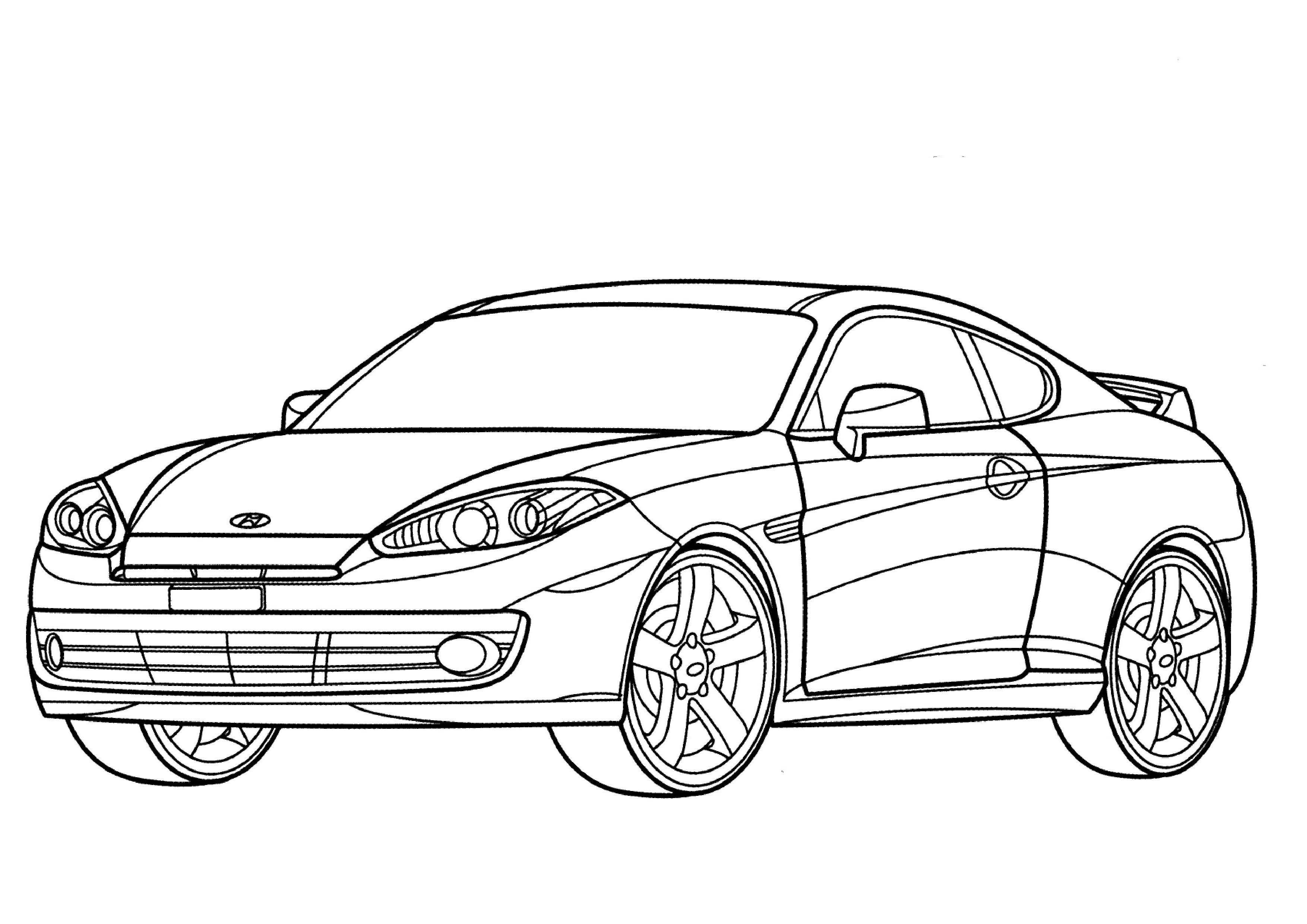 get printable hyundai tiburon coupe coloring page carsss
