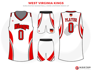 e7ab642c9 WEST VIRGINIA KINGS Red White and Black Basketball Uniforms