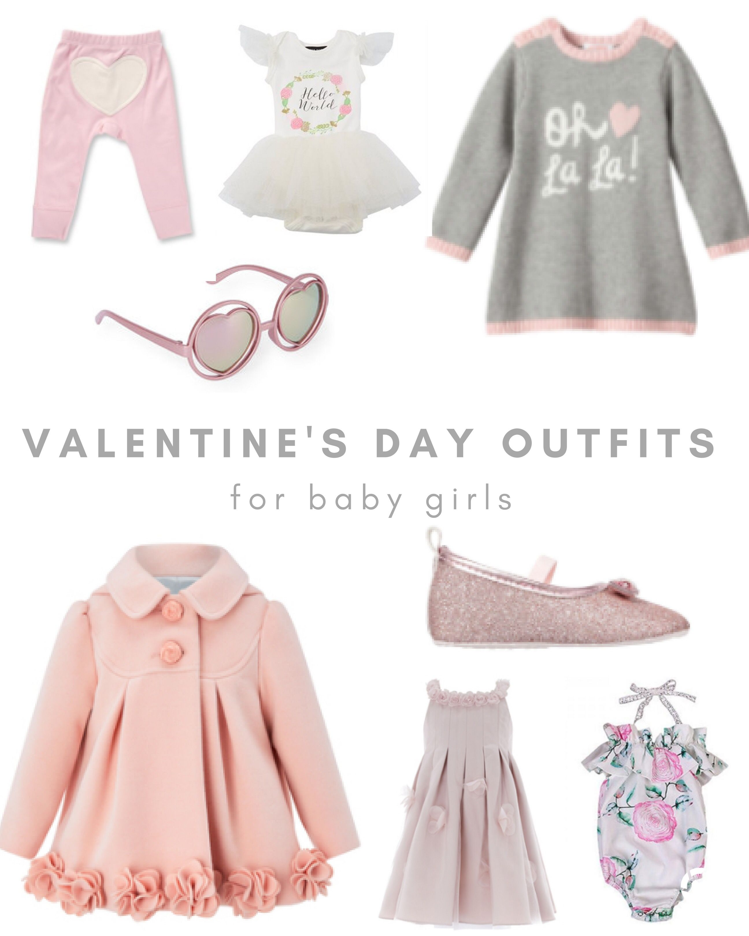 7f22c3e841bdd Cute Valentines Dat outfits for baby and toddler girls - Valentine s Day  outfits including heart-shaped sunglasses