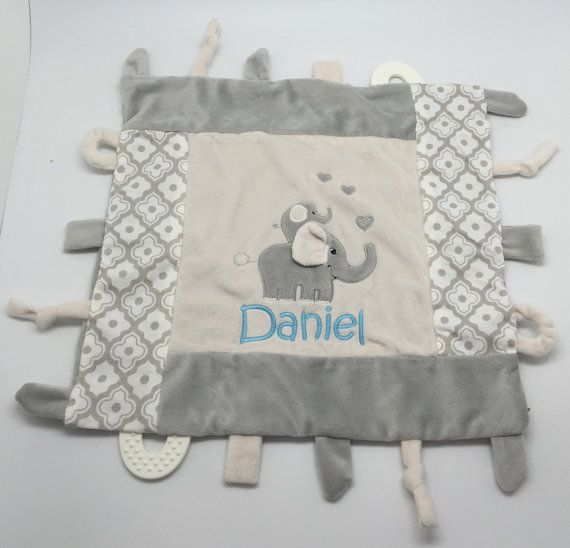 Personalized baby boy taggy blanket monogram baby gift gray grey personalized baby boy taggy blanket monogram baby gift gray grey elephant custom baby gift teething blanket baby toy boy gift negle Gallery