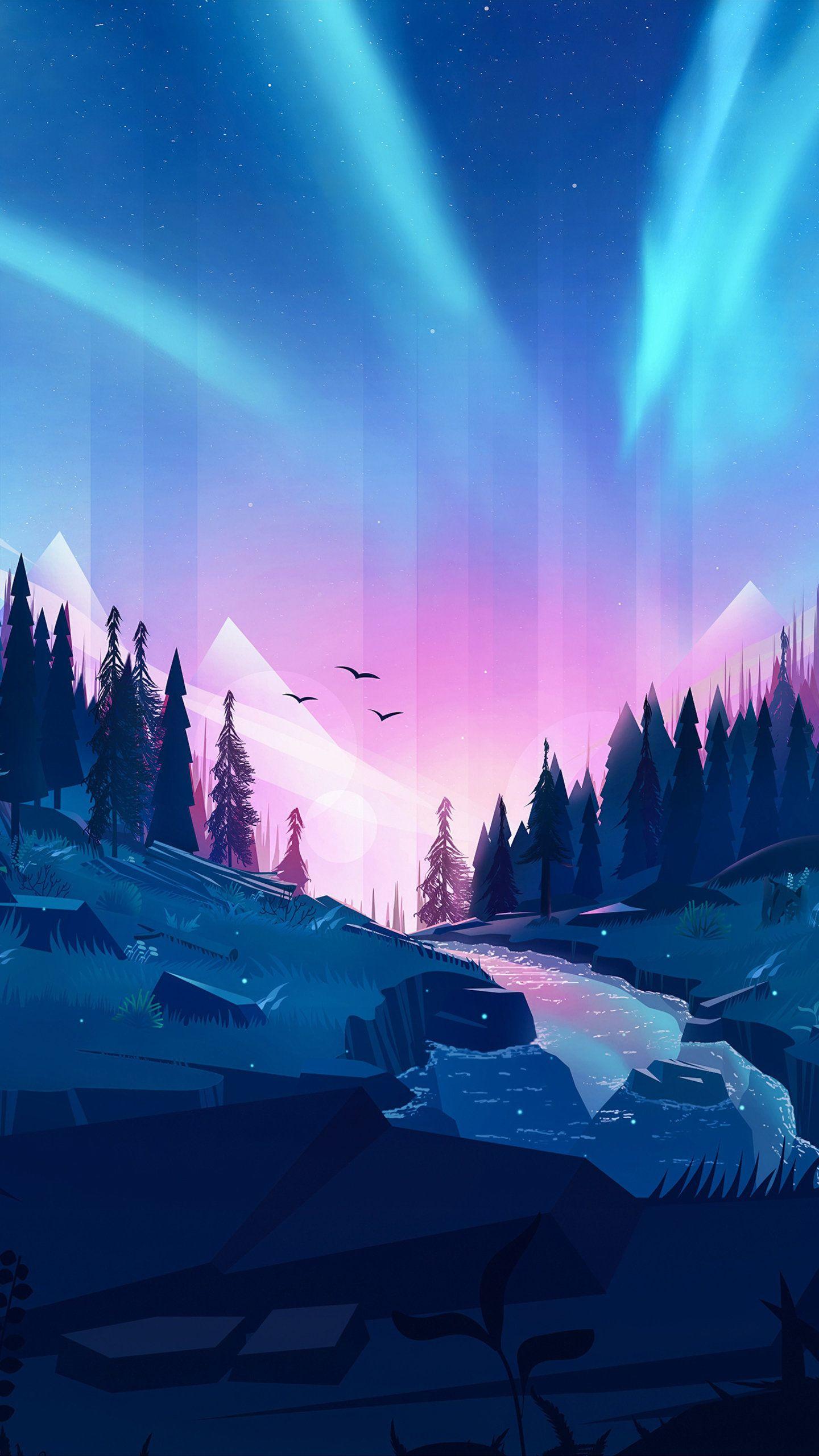 Auroral Forest 4k Illustration Hd Wallpaper Desktop Wallpaper