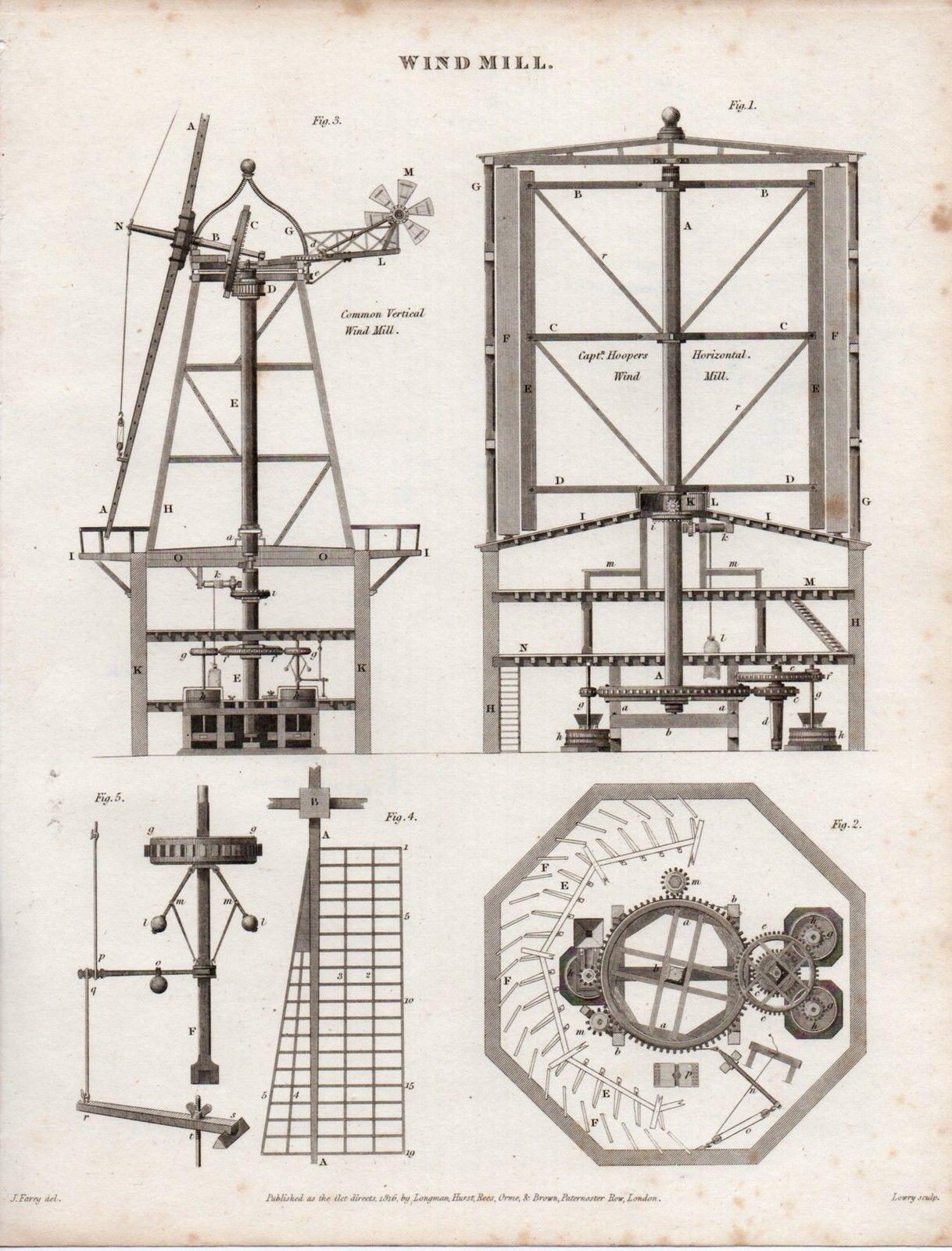 1816 georgian print windmill parts elevation plans ebay 1816 georgian print windmill parts elevation plans ebay pooptronica Gallery
