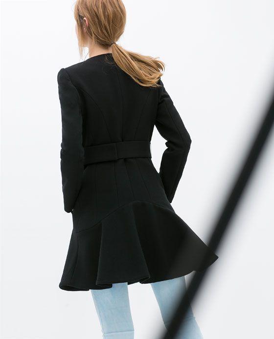 Image 4 of COAT WITH RUFFLED HEM from Zara