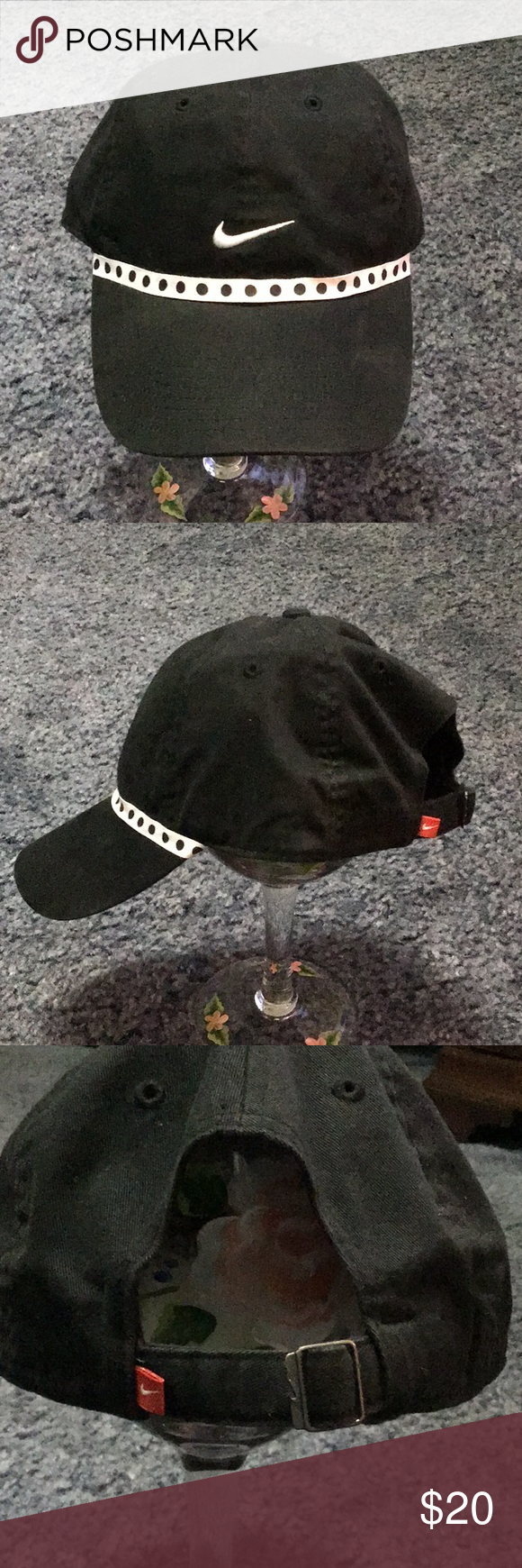 0090ac921bd4b Nike cap Super cute Fitted 🧢 😊 Nike fitted hat adjustable strap and buckle.  Black