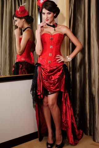 a345af75fd Corsets Brocade Steampunk Corset Avec Agrafe Fasteners Rouge ...