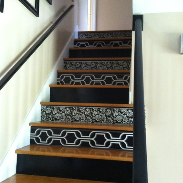 Wallpapered Stairs Google Search Val White Stair Treads Would Be Good With This And Lighten The Look Considerably I Like The Lo Wallpaper Stairs Stair Makeover Home Decor