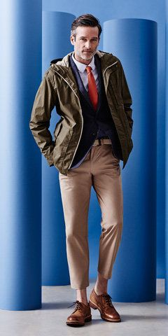 Create a cool but practical look with a blazer, tie, beige chinos ...