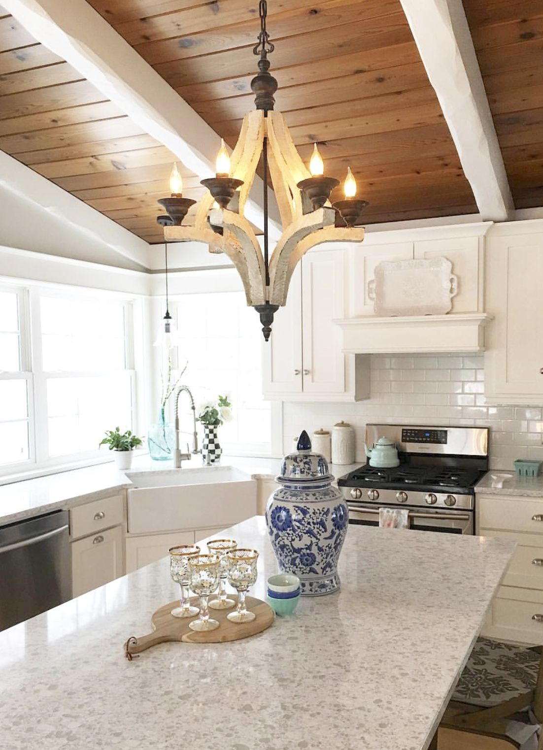 White kitchen with wood plank ceiling | Wood plank ceiling ...
