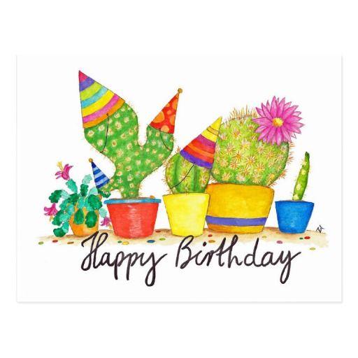 Cactus Birthday Postcard By Nicole Janes Zazzlecom Birthday