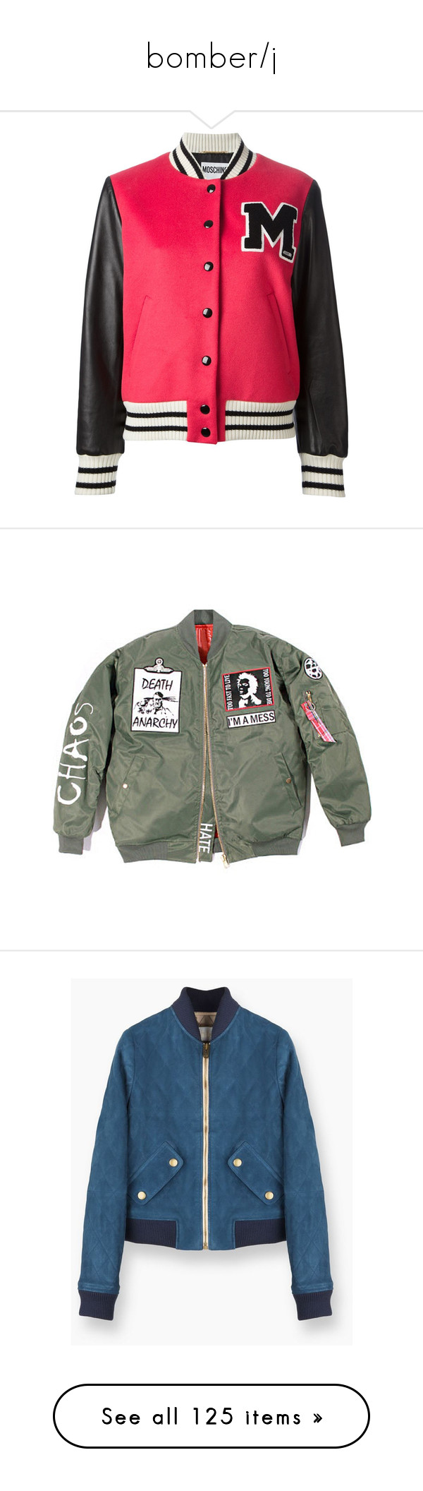 """""""bomber/j"""" by morongo ❤ liked on Polyvore featuring outerwear, jackets, tops, coats, casacos, red, moschino jacket, stand up collar jacket, snap jacket and varsity jackets"""