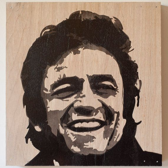 Johnny Cash Laughing Multilayer Graffiti Stencil via Etsy