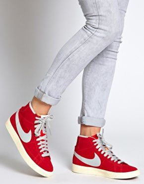 nike blazer mid red high top trainers women