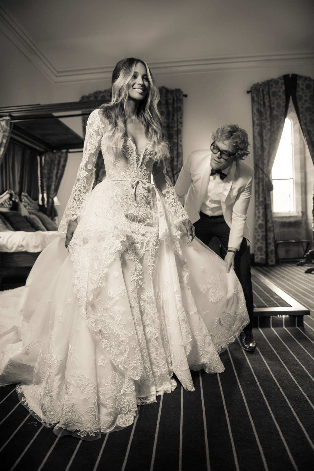 The story behind a couture wedding dress wedding dress couture peter dundas reveals to vogue what went into making ciaras couture wedding gown ombrellifo Images
