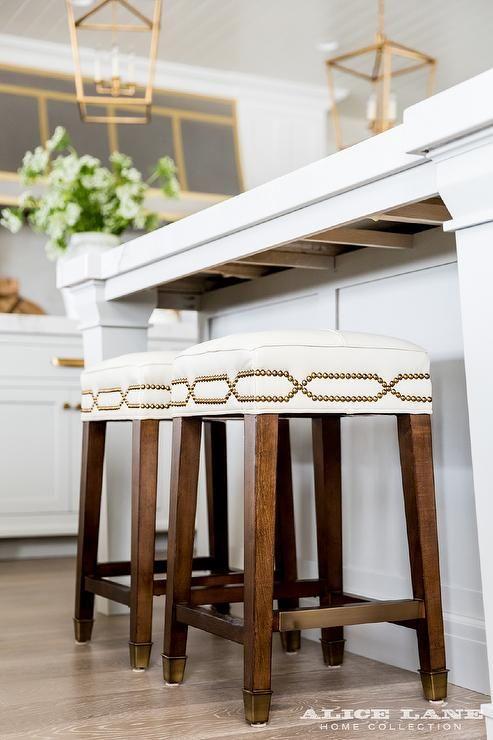 Kitchen Island With Backless Brass Nailhead Counter Stools Transitional Kitchen Kitchen Stools Kitchen Bar Stools Backless Bar Stools