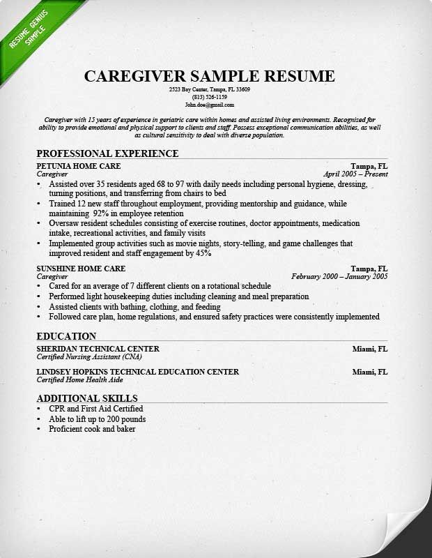 Resume Sample For A Caregiver Resume Skills Resume