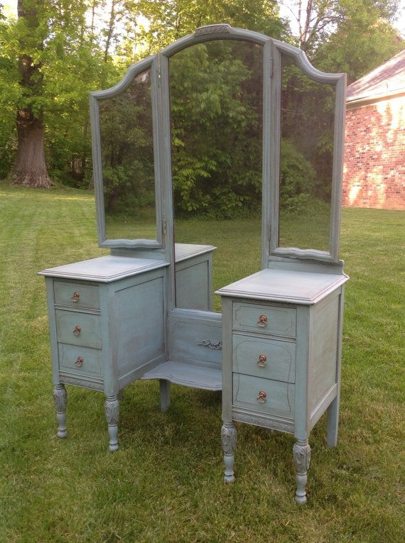 $400 Antique Vanity Dressing Table, Tri Fold Mirror, Painted And Stained,  Lightly