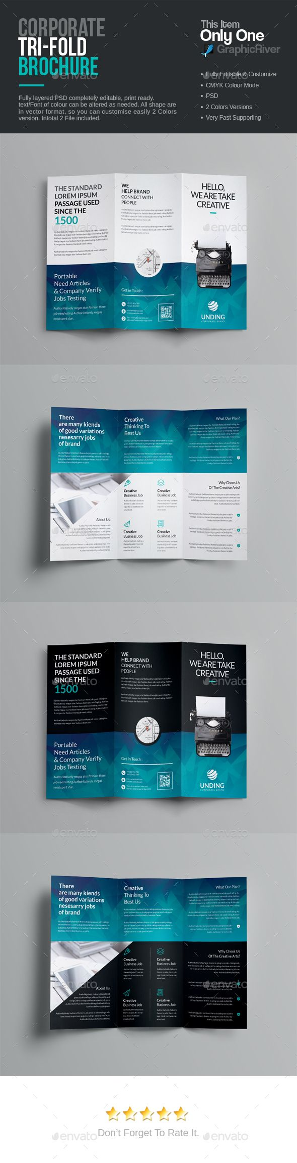 TriFold Brochure Photoshop PSD Epublishing Flyer Download - Tri fold brochure photoshop template