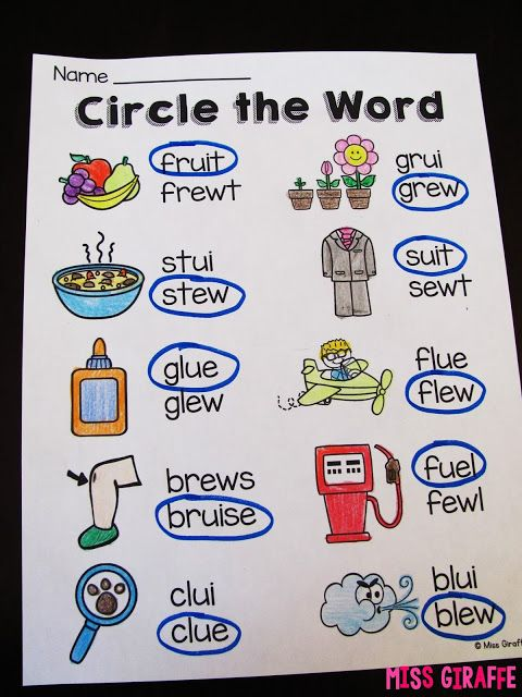Circle the correct spelling of the long u words to practice the ew ...