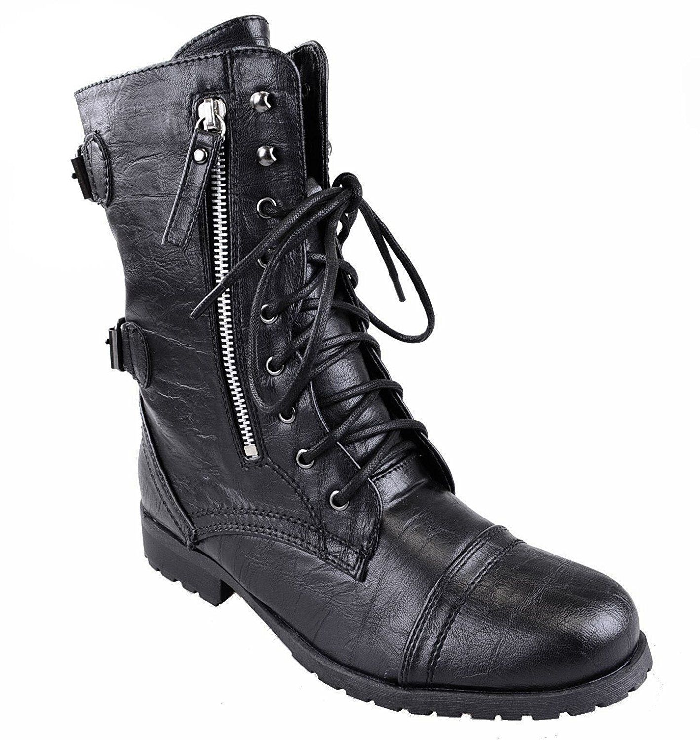 Womens Army Combat Lace Up Zip Grunge Military Biker Punk Goth Ankle Boots Shoes Size